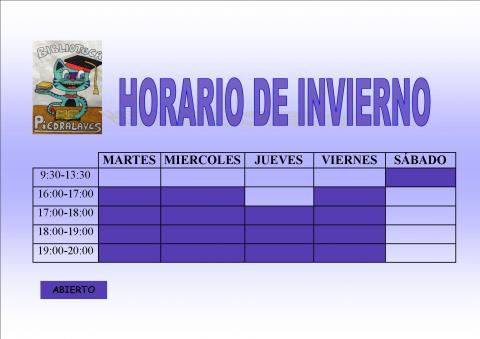 Biblioteca de Piedralaves Horario de Invierno